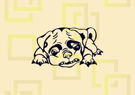 Vector illustration of a puppy on light background.