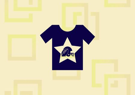 T-shirt with football and rugby helmet icon.