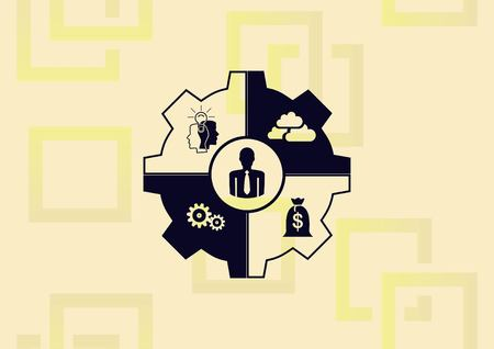 Business strategy icon, business concept icon, gear with different man's ideas vector illustration.