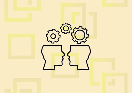 Business strategy icon, abstract illustration of two people, open head, with gear on their head.