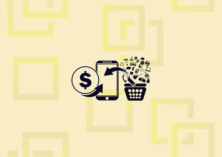 Online sale icon, smartphone with basket and money for online shopping illustration on light background.