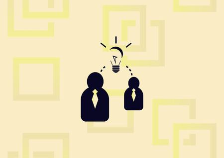 Business strategy icon, business concept icon, two man with bright idea. Illustration