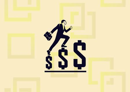 Business strategy icon, business concept icon man stepping on dollars