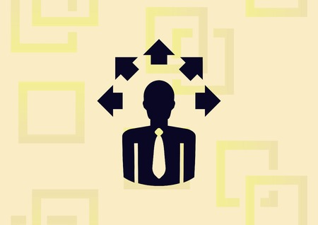 Businessman icon with arrows, business strategy concept illustration on light background.
