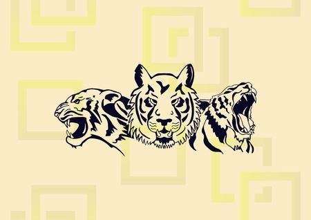 Aggressive tiger  icon vector illustration. Illustration