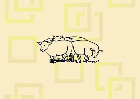 Vector illustration of a sheep. Ilustração