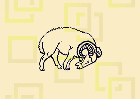 Vector illustration of a sheep. Vettoriali