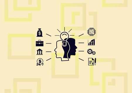 Business strategy icon, business concept icon, man thinking a lot of ideas.