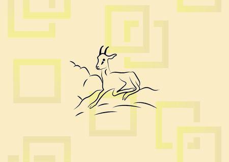 Vector illustration of a goat, running. Illustration