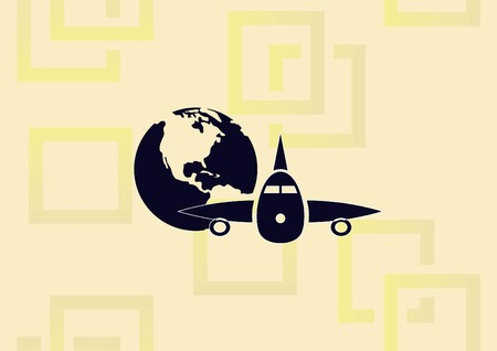 Aircraft icon, transportation with illustration of airplane and world.