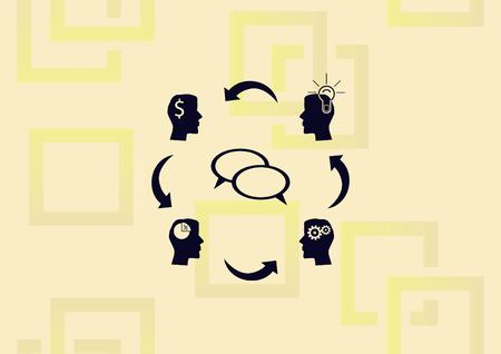 Business strategy icon, two speech bubble in the center of business minded persons.