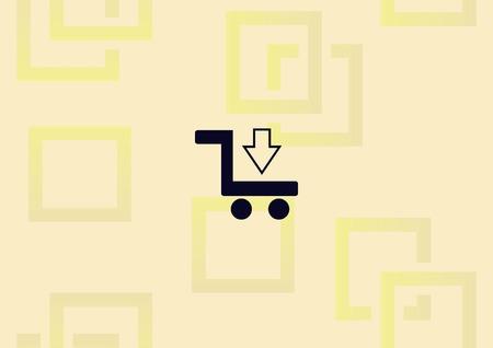Shopping trolley, cart icon illustration on light background.  イラスト・ベクター素材
