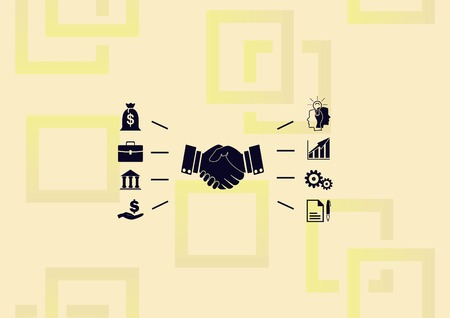 Business strategy icon, business concept icon, man dealing with lot of ideas Illustration