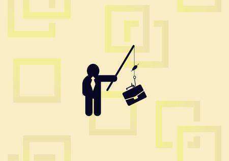 Business strategy icon, business concept icon, man fishing a briefcase