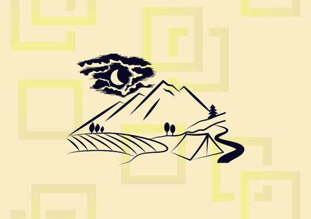 Mountain landscape camping  icon vector illustration.