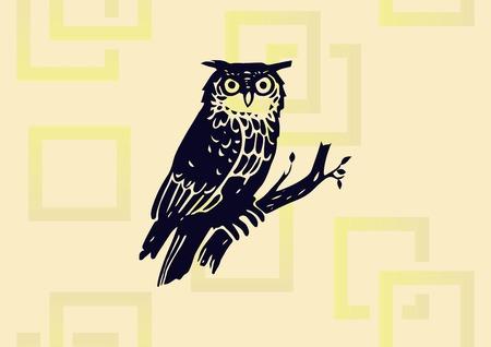 Owl graphic design element in color black illustration.