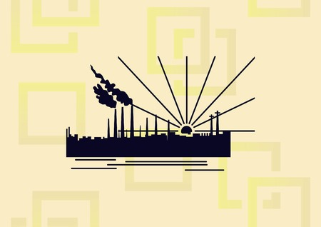 Factory silhouette vector illustration.