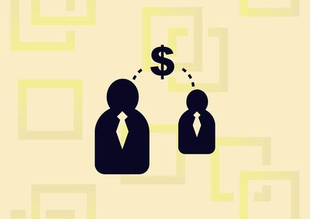 Businessman with dollar icon, business strategy concept icon illustration on light background.