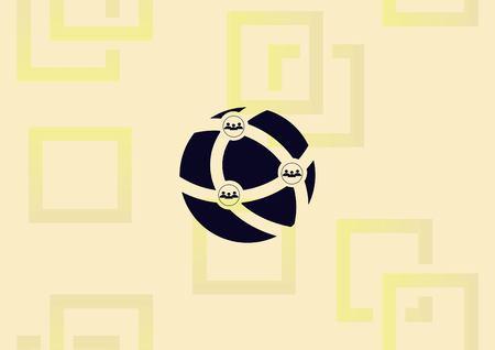 Holding globe, social network icon vector illustration.