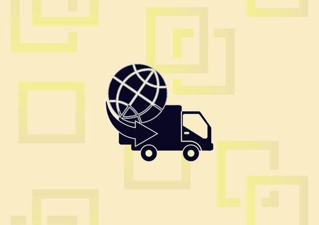 Auto delivery truck icon vector illustration. Illustration