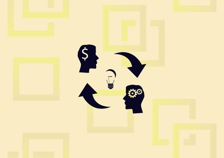 Business strategy icon, light bulb at the center of two men with dollar icon and thinking strategy illustration.