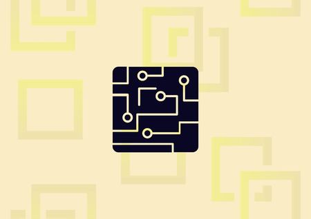 Circuit board, technology icon, vector illustration. Flat design style