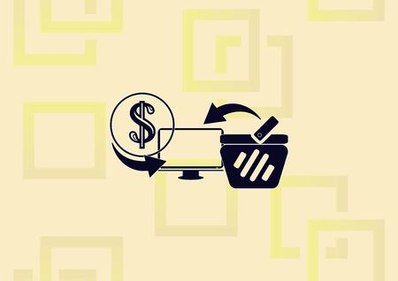 Online sale icon with shopping bag and money icons.