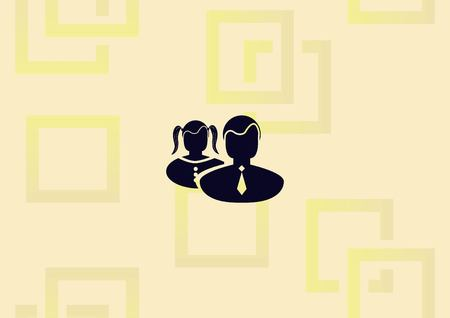 Boy and girl icon, graphic design in color black illustration.