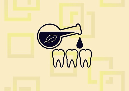 Dentistry, dental treatment icon. Put a medicine on tooth illustration on light background.