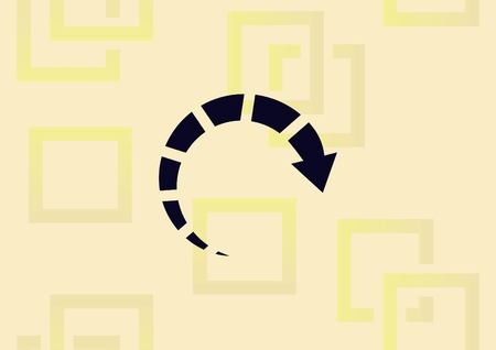 Arrow indicates the direction icon illustration on light background.