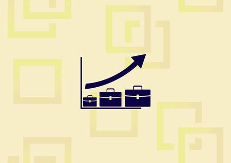 Diagram with briefcase icon vector illustration.