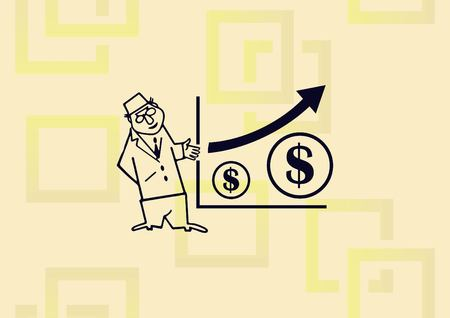 Business strategy icon, business concept icon, man beside a growing money diagram