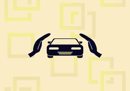 Taking care of automobile illustration.