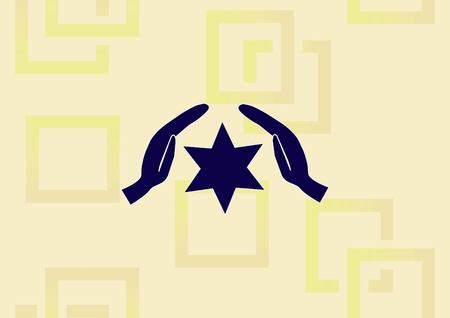 Star of David Jewish synagogue icon, illustration of star and hand in silhouette design.