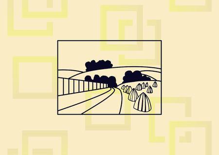 Retro landscapes agriculture field icon vector illustration.