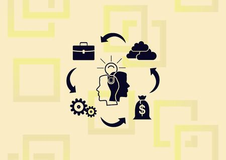 Business strategy icon , with illustration of two head thinking together with other elements surrounding them.
