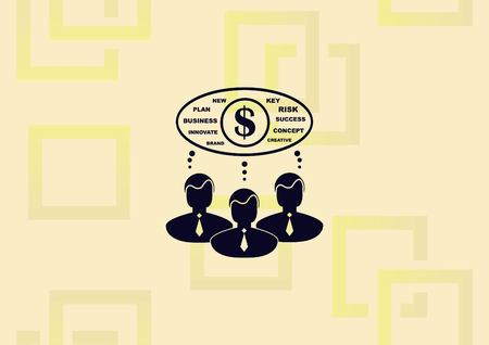 Business strategy icon, business concept icon, three men thinking about money