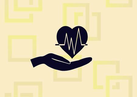 Human heart, Cardiology resuscitation icon vector illustration Illustration