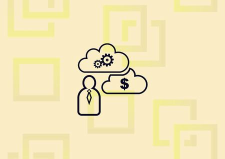Business strategy icon, business concept icon, man thinking bout clouds of ideas