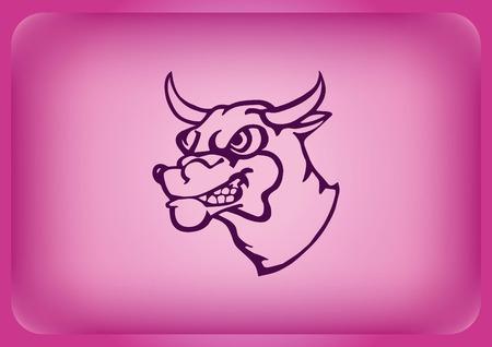 Vector illustration of the evil head, ferocious, aggressive bull. Illustration