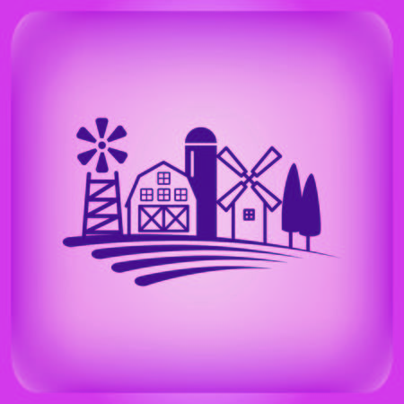 Farm products logo, Retro landscapes. Illustration