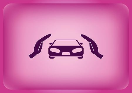 Car icon isolated on plain violet background
