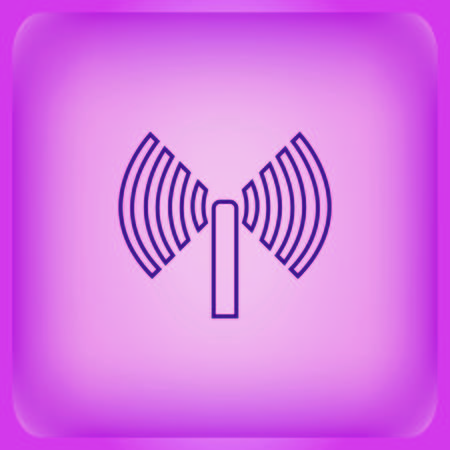 Antenna icon isolated on plain violet background Illustration