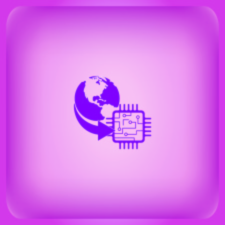 Circuit board, technology icon, vector illustration isolated on plain violet background Çizim