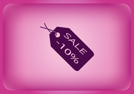 SALE tag icon, vector illustration isolated on plain violet background