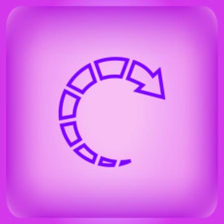 Arrow indicates the direction icon isolated on plain violet background Ilustração