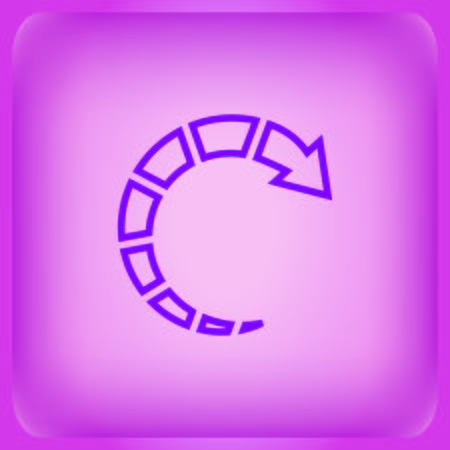Arrow indicates the direction icon isolated on plain violet background Illustration