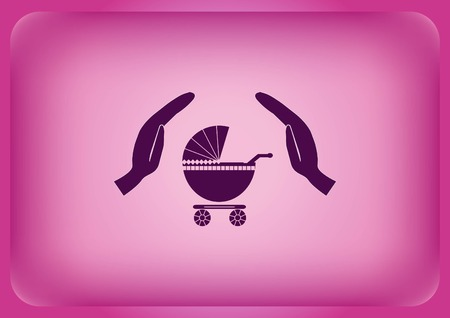 A baby carriage icon isolated on plain violet background