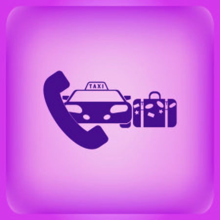 Taxi icon isolated on plain violet background