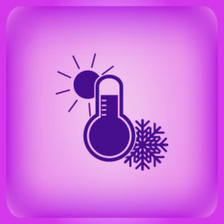 Thermometer icon isolated on plain violet background